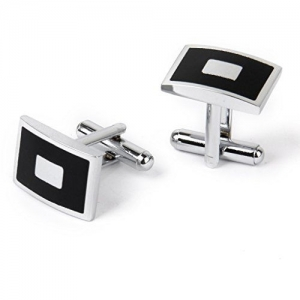 Generic Imported Stainless Steel Men Cuff Link Cufflinks Black & Silver - Square