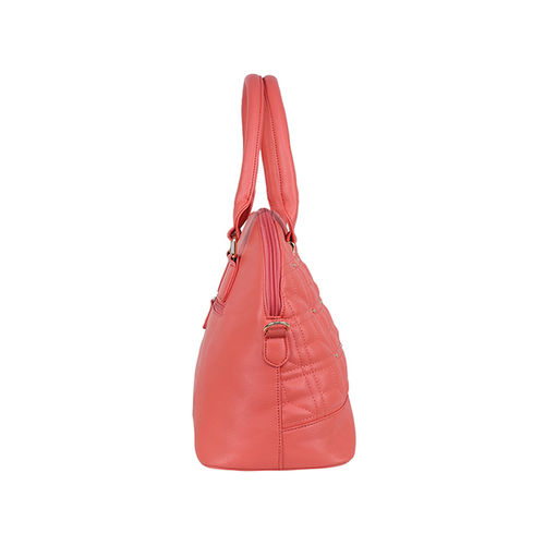 Lavie Nango Coral Pink Textured Quilted Handbag