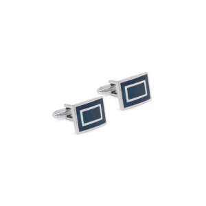 INVICTUS Navy Blue & Steel Rectangle Cufflinks