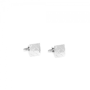INVICTUS Silver-Toned Textured Square Cufflinks