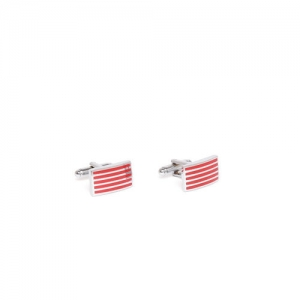 INVICTUS Silver-Toned & Red Striped Cufflinks