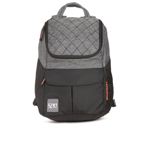 Wildcraft Wiki 6 Jacquard Black & Grey Unisex Backpack