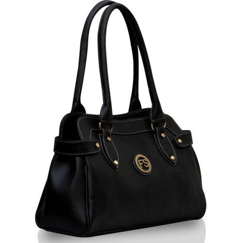 Fostelo Black PU Solid Zip Shoulder Bag