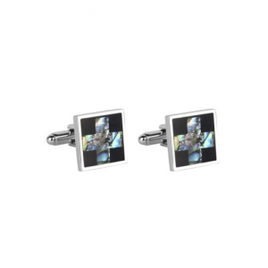 JEWEL JUNCTION Silver-Toned Square Cufflinks