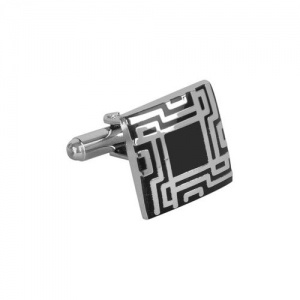 JEWEL JUNCTION Silver-Toned Geometric Cufflinks