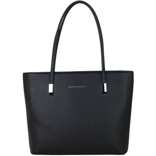 Lino Perros Black Faux Leather Solid Tote Bag