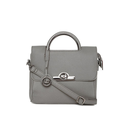Lino Perros Grey Solid Satchel with Detachable Sling Strap
