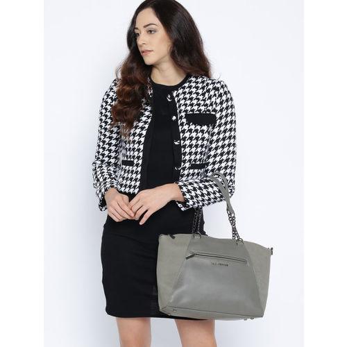 Lino Perros Grey Solid Shoulder Bag with Detachable Sling Strap