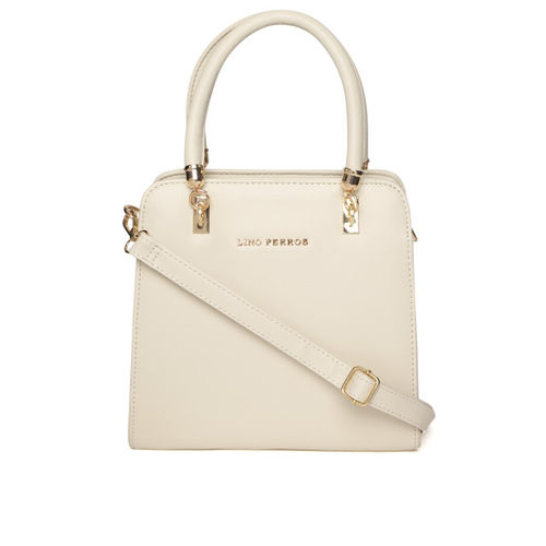 Lino Perros Off-White Solid Handheld Bag with Detachable Sling Strap