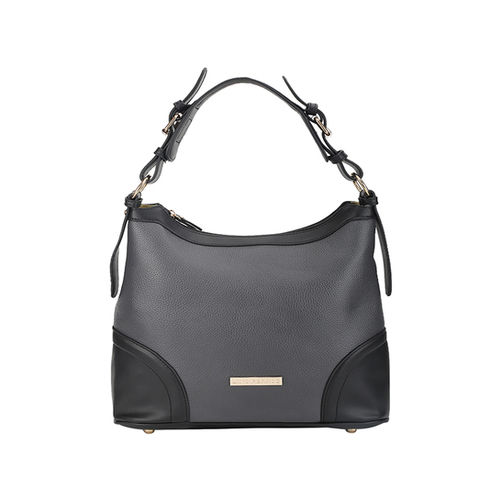 Lino Perros Grey & Black Solid Hobo Handbag