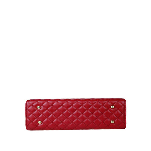 Lino Perros Red Textured Quilted Handbag