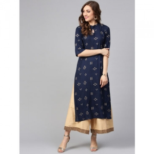 Libas Navy Blue & Golden Cotton Printed Straight Kurta