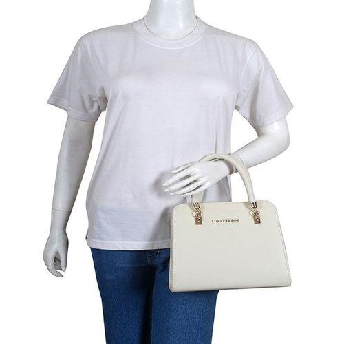 Lino Perros White Solid Leather Handbag