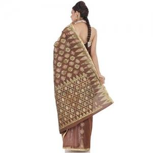 Chhabra555 Brown Nylon Banarasi Saree