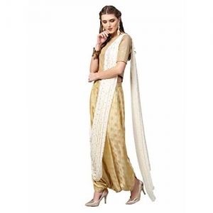 Inddus Cream & Gold Art Silk Ready to wear dhoti saree Without Blouse piece.