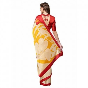 Inddus Beige Printed Crepe Saree With Blouse Piece