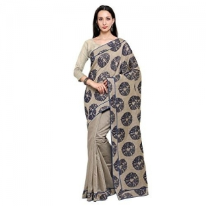Inddus Beige half and half Banarasi Cotton Saree