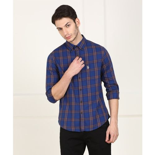U.S. Polo Assn Men's Checkered Casual Dark Blue Shirt