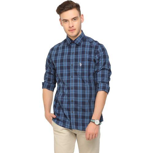 U.S. Polo Assn Men Checkered Casual Dark Blue Shirt