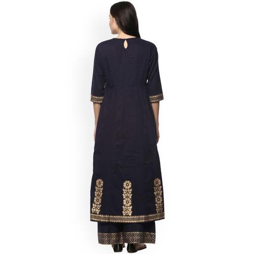 Bhama Couture Women Navy Blue Printed Kurta with Palazzos
