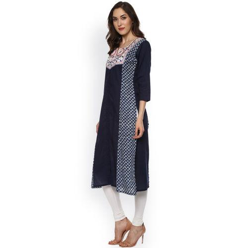 Bhama Couture Women Navy Blue Printed Straight Kurta