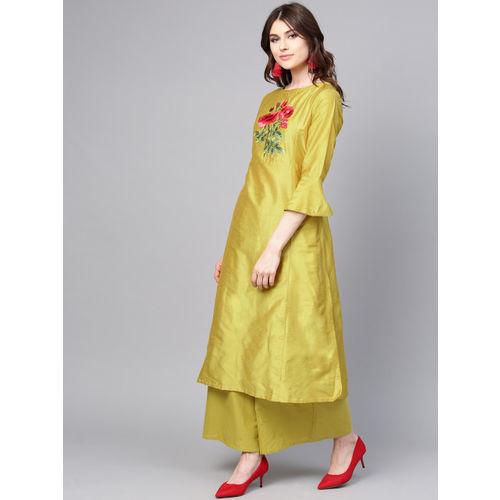 Bhama Couture Women Mustard Yellow Yoke Design Kurta with Palazzos