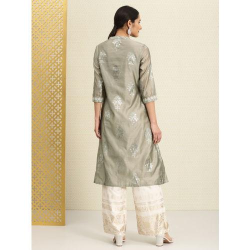 House of Pataudi Women Grey Printed Straight Kurta