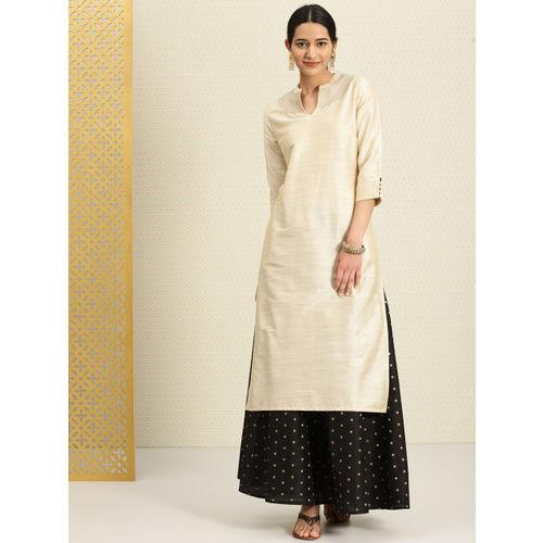 House of Pataudi Women Beige Solid Straight calf length Kurta