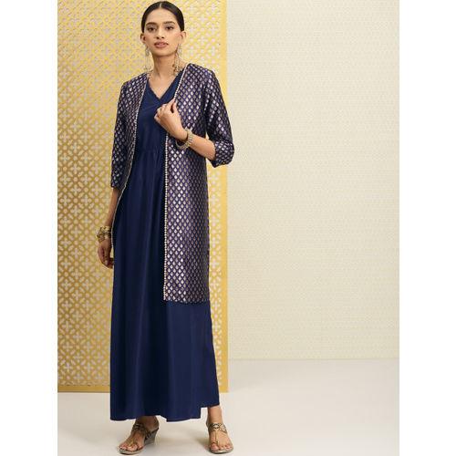 Buy House of Pataudi Women Navy Blue A-Line Kurta with Brocade Jacket  online | Looksgud.in