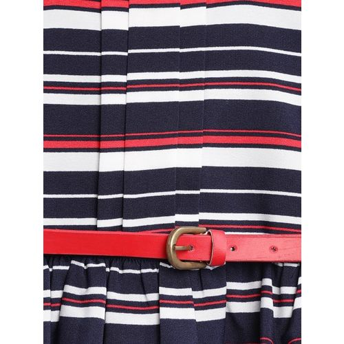 Nauti Nati Girls Navy Blue & Red Striped Fit & Flare Dress