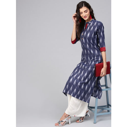 Inddus Navy Cotton Printed Straight Kurti