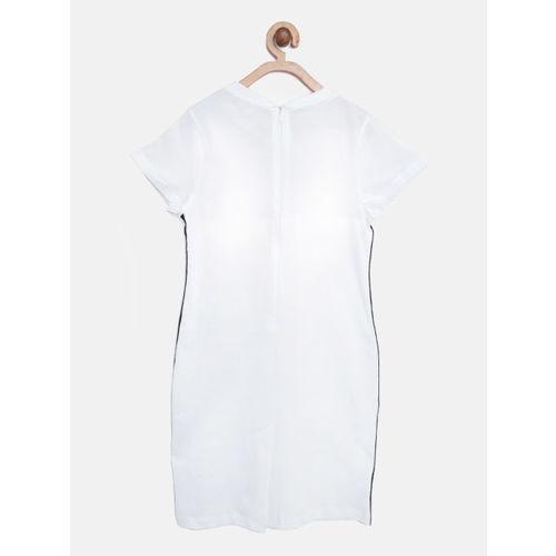 Nauti Nati Girls White Solid T-shirt Dress with Denim Jacket