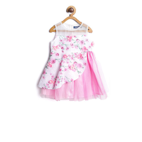 Nauti Nati Girls Pink & White Printed Fit and Flare Dress