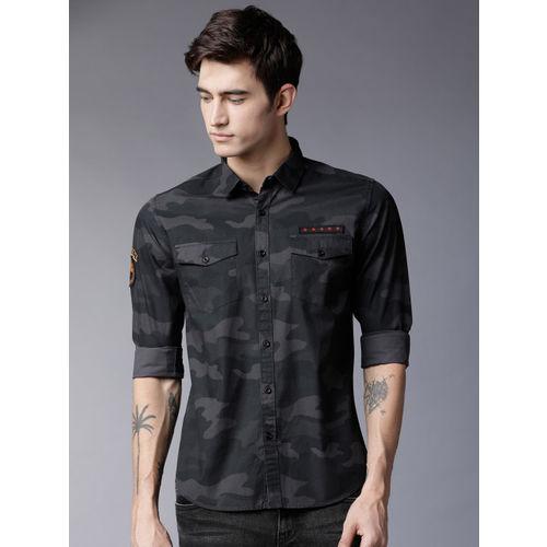 HIGHLANDER Men Black & Grey Slim Fit Printed Casual Shirt