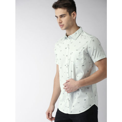 HIGHLANDER Men White & Green Slim Fit Printed Casual Shirt