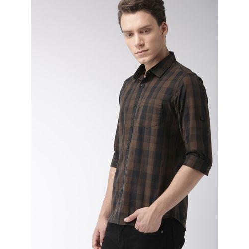 HIGHLANDER Men Brown & Black Slim Fit Checked Casual Shirt