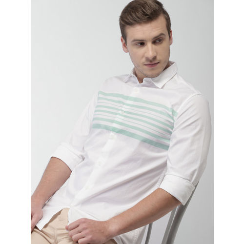 HIGHLANDER Men White & Blue Striped Slim Fit Casual Shirt
