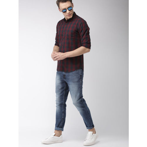 HIGHLANDER Men Navy Blue & Maroon Slim Fit Checked Casual Shirt