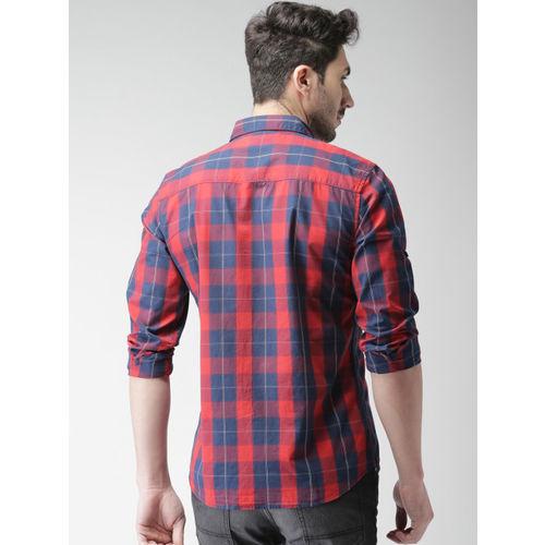 HIGHLANDER Men Navy & Red Slim Fit Checked Casual Shirt