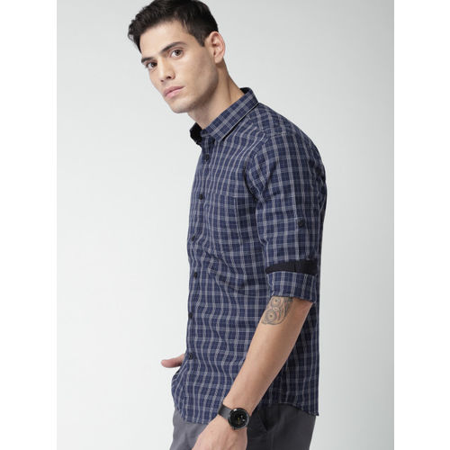 HIGHLANDER Men Blue & White Slim Fit Checked Casual Shirt