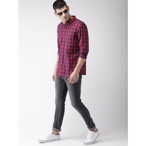HIGHLANDER Men Red & Navy Slim Fit Checked Casual Shirt
