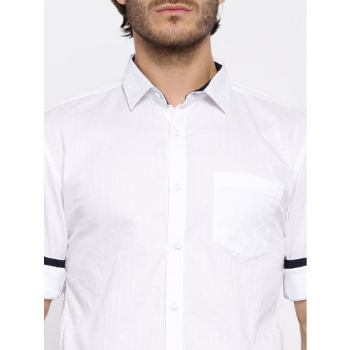 Highlander White Checked Slim Fit Casual Shirt