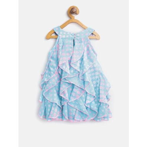 Nauti Nati Girls Blue & Pink Printed A-Line Dress