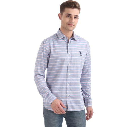 U.S. Polo Assn Men Striped Casual Blue Shirt