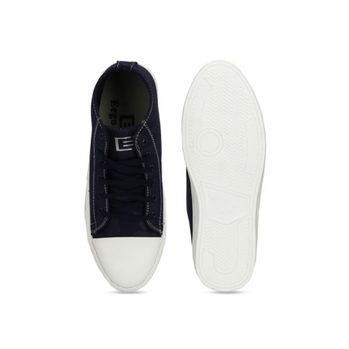 Eego Italy Men Blue & White Colourblocked Canvas Mid-Top Sneakers