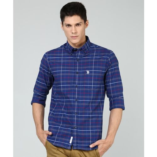 U.S. Polo Assn Men Checkered Casual Blue Shirt