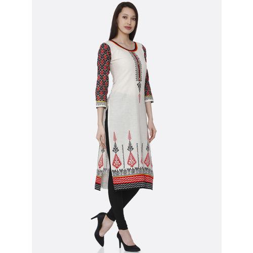 RAISIN Women Off-White & Multicoloured Printed Straight Kurta