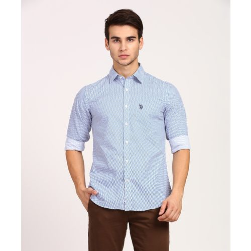 U.S. Polo Assn Men's Printed Casual Blue Shirt