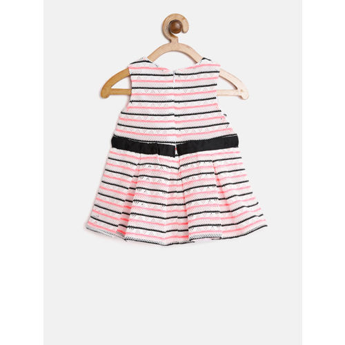 Nauti Nati Girls White & Black Striped Fit & Flare Dress