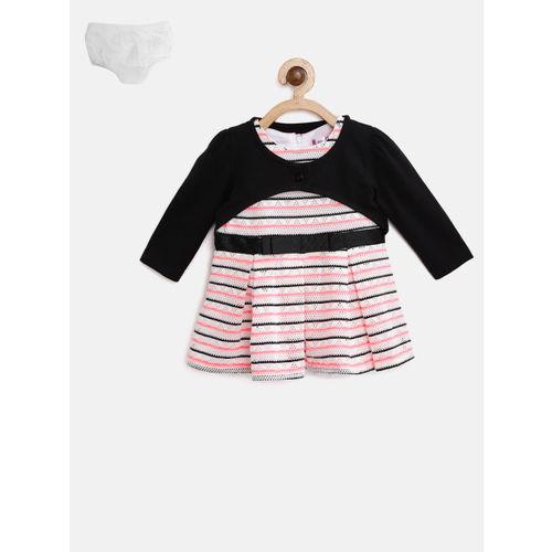 Nauti Nati Girls White & Black Striped Fit & Flare Dress